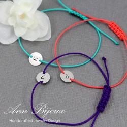 Hand Stamped Initial Adjustable String Bracelet
