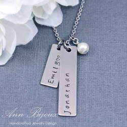 Personalized Hand Stamped Name Bar Necklace