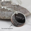 Actual Fingerprint Silver Necklace, Personalized Fingerprint Necklace, Memorial Jewelry