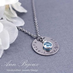 Hand Stamped Stainless Steel Initial Necklace