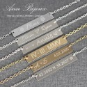 Personalized Bar Necklace, Engraved Gold Bar Necklace, Gold Filled Engraving Necklace, Gold Coordinates Necklace, Mom Gift