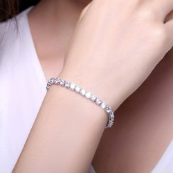 Cubic Zirconia Tennis Bracelet, Bridal CZ Link Bracelet, AAA High Quality Crystal Jewelry, White Rhodium Plated, BrideSmaid Gift