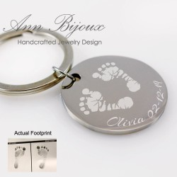 Actual Baby Footprint Stainless Steel Keychain, New Born Baby Gift, Personalized New Mom Present, Miscarriage Memorial Gift