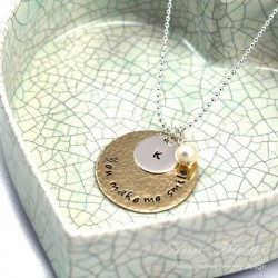 """Personalized Hand Stamped """"You make me smile"""" Necklace"""