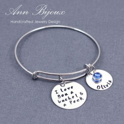 "Personalized ""I Love You a Bushel & a Peck"" Message Bangle Bracelet"