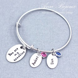 "Personalized Hand Stamped Message "" You are My Sunshine""Bangle Bracelet"