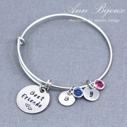 """ Best Friends"" Personalized Hand Stamped Message Bangle Bracelet"