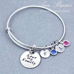 """ Love My Family"" Personalized Hand Stamped Message Bangle Bracelet"