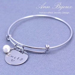 Personalized Hand Stamped Name Bangle Bracelet