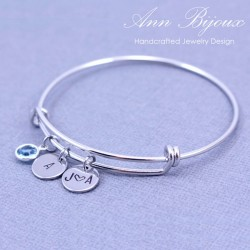 Personalized Hand Stamped Initial Bangle Bracelet