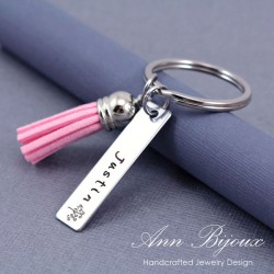 Personalized Hand Stamped Stainless Steel Keychain with Suede Tassel