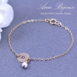 14K Gold Filled Dainty Initial with Pearl Hand Stamped Bracelet