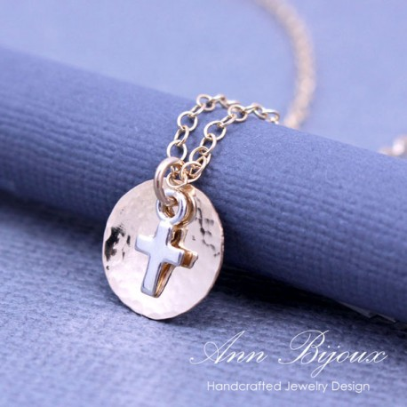 Personalized 14k Gold Filled Dainty Initial with Cross Necklace