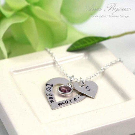 """Persinalized """"I Love You More"""" Message Double Heart Necklace"""