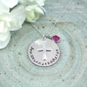 Personalized Hand Stamped Family Name with Cross Necklace
