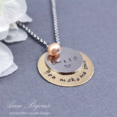 "Personalized Message ""You make me smile"" with Name Necklace"