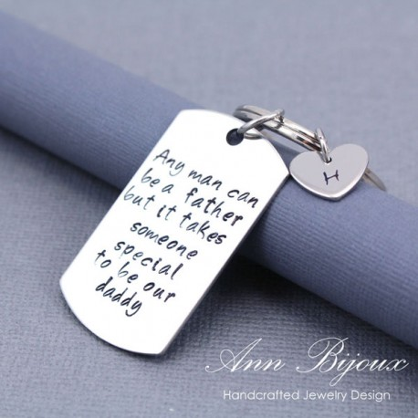 Personalized Hand Stamped Father's Keychain