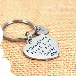 "Hand Stamped "" A Daughter's First Love is Her Daddy"" Father Keychain"