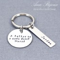 "Hand Stamped ""A Father is a Son's First Hero""Message Father Keychain"