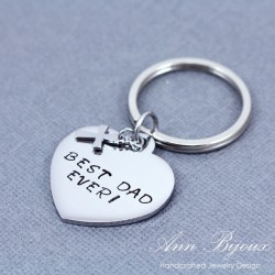 "Personalized Hand Stamped ""Best Dad Ever"" Keychain"