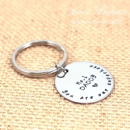 "Hand Stamped ""You are Our Superhero"" Message Father Keychain"
