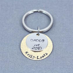 DAD EST. Message Personalized Hand Stamped  Father Keychain