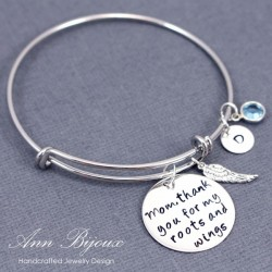 "Personalized ""Mom, Thanks for My Roots and Wings"""" Message Bangle Bracelet"