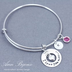 "Hand Stamped ""I Love You More.."" Message Bangle Bracelet"