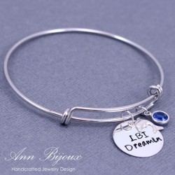 "Hand Stamped Summer Vacation ""LBI Dreamin"" Message Bangle Bracelet"