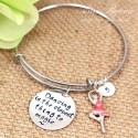 "Hand Stamped Ballerina Bangle Bracelet -"" Dancing is the closest thing to magic """