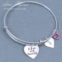 "Hand Stamped "" Love my family "" Message Bracelet"