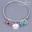 Sterling Silver Grandma or Mom Bangle Bracelet with Birthstones