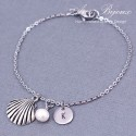 Hand Stamped Seashell with Initial Bracelet