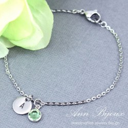 Personalized Initial with Swarovski Birthstone Bracelet