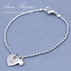 Personalized Heart Initial with Swarovski Pearl Bracelet