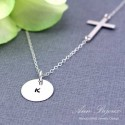 Sideways Cross Personalized Hand Stamped Necklace