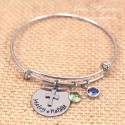 Personalized Name with Cross Bangle Bracelet