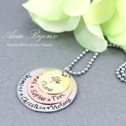 Personalized Family Tree Multi Tone Necklace
