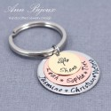 Hand Stamped Family Tree Name Keychain