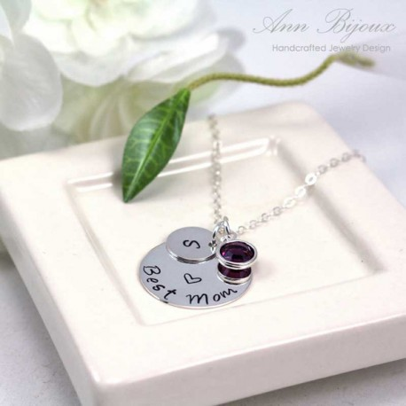 Best mom Hand Stamped Necklace