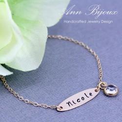 Hand Stamped Modern Minimalist Initial Bracelet