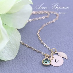 Personalized Gold Filled Initial with Leaf Necklace