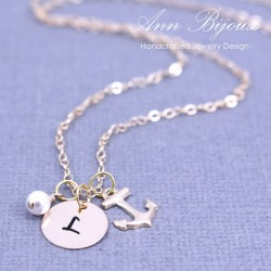 Hand Stamped 14K Gold Filled Initial with Anchor Necklace