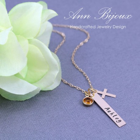 Personalized 14K Gold Filled Name with Cross Necklace