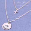 Hand Stamped Tree of Life Set of 2 Necklaces