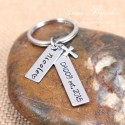 Hand Stamped DAD EST Father Keychain