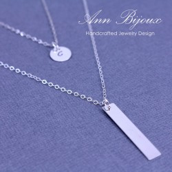 Personalized Set of 2 Sterling Silver Layered Necklace
