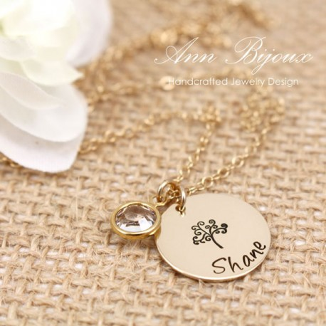 Tree of Life Hand Stamped Gold Filled Necklace