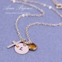 Gold Filled Cross Charm with Hand Stamped Initial Necklace