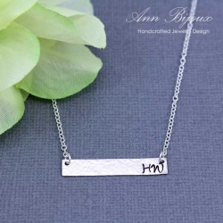 Personalized  Rectangular Bar Hammered Initial Necklace